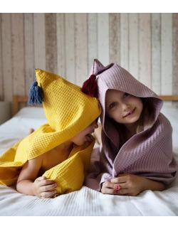 Ponczo waffel zółty- ręcznik przedszkolaka