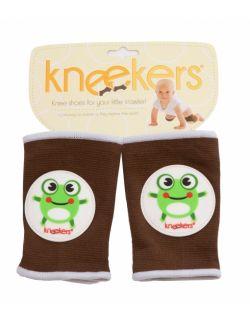 Antypoślizgowe ochraniacze na kolana KNEEKERS® dla raczkujących niemowląt -Brązowe, żabki, szczupłe kolanka- Ah Goo Baby