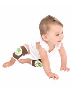 Antypoślizgowe ochraniacze na kolana KNEEKERS® dla raczkujących niemowląt -Brązowe, żabki, pulchne kolanka- Ah Goo Baby