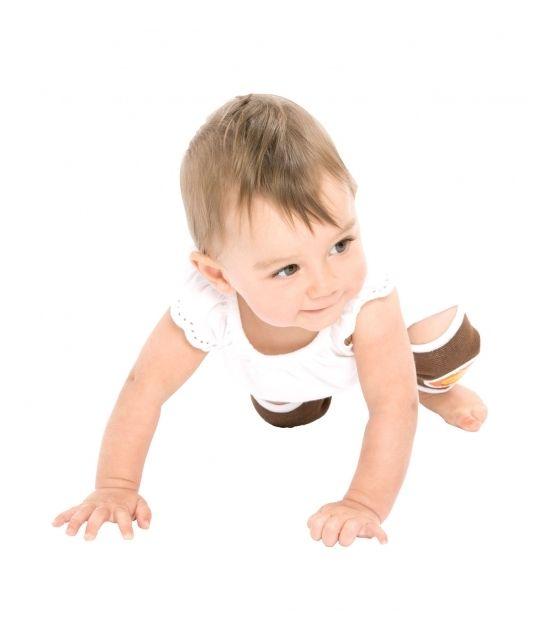 Antypoślizgowe ochraniacze na kolana KNEEKERS® dla raczkujących niemowląt -brązowe, słoneczka, szczupłe kolanka- Ah Goo Baby