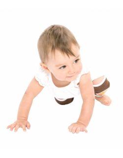 Antypoślizgowe ochraniacze na kolana KNEEKERS® dla raczkujących niemowląt -brązowe, słoneczka, pulchne kolanka-  Ah Goo Baby