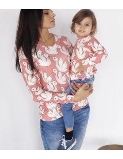 Zestaw bluz dla mamy i dziecka koralowe łabędzie