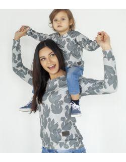 Zestaw bluz dla mamy i dziecka szare łabędzie