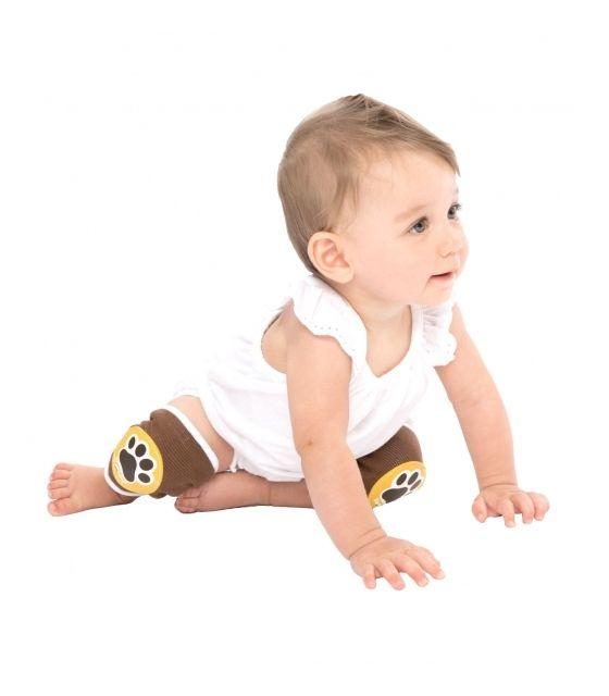 Antypoślizgowe ochraniacze na kolana KNEEKERS® dla raczkujących niemowląt -brązowe, łapki, szczupłe kolanka- Ah Goo Baby