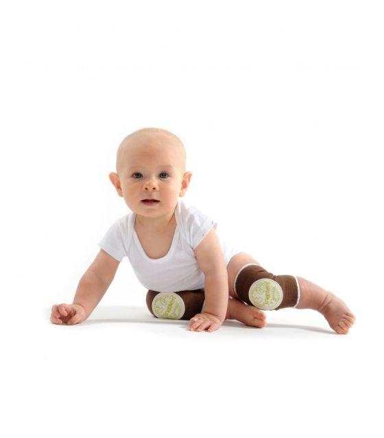 Antypoślizgowe ochraniacze na kolana KNEEKERS® dla raczkujących niemowląt -brązowe, bąbelki, pulchne kolanka- Ah Goo Baby
