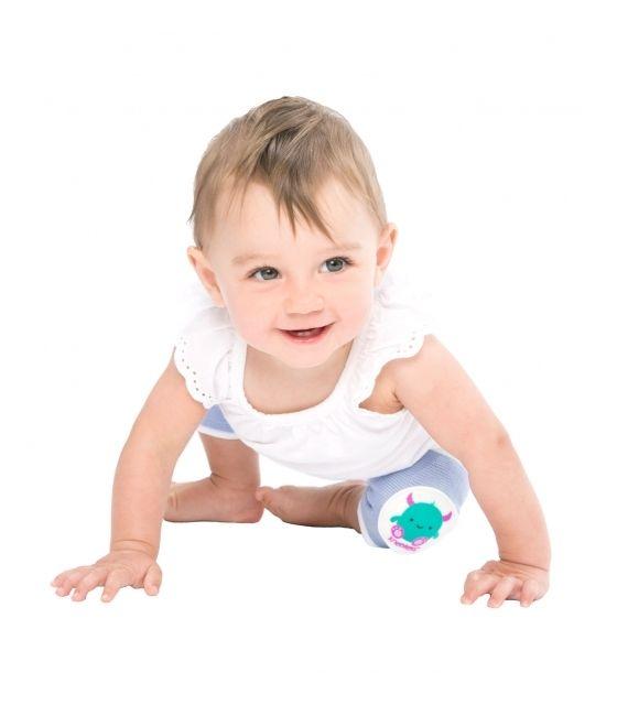Antypoślizgowe ochraniacze na kolana KNEEKERS® dla raczkujących niemowląt -fioletowe, potwory, szczupłe kolanka- Ah Goo Baby