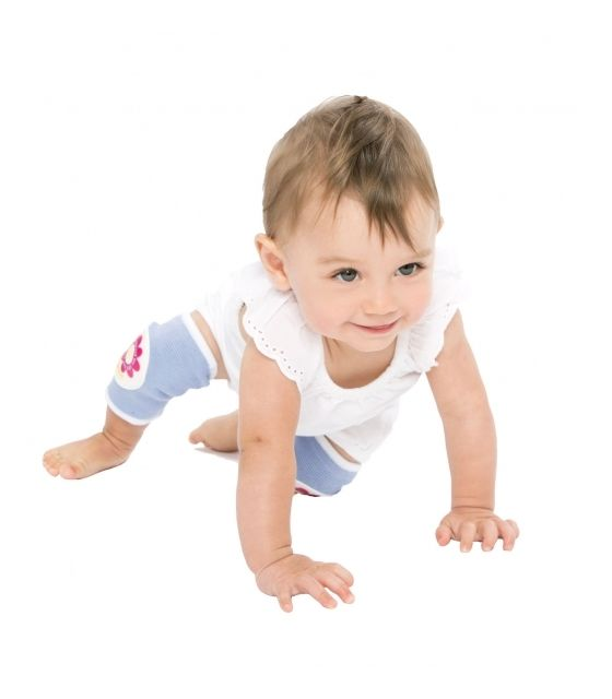 Antypoślizgowe ochraniacze na kolana KNEEKERS® dla raczkujących niemowląt -fioletowe, kwiatki, szczupłe kolanka- Ah Goo Baby