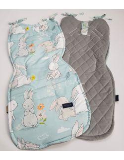 Wkładka do wózka Zakochane króliki velvet szary caro