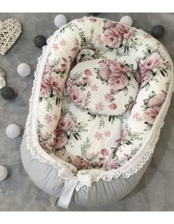 Kokon premium + poduszka z uszkami Flowers & velvet ze zdejmowanym pokrowcem