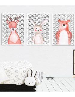 Plakaty Zwierzęta z lasu – zestaw A3 lub 30x40cm