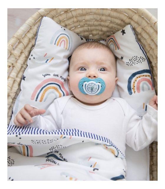 Starter niemowlęcy Rainbow: kokon + pościel + rożek