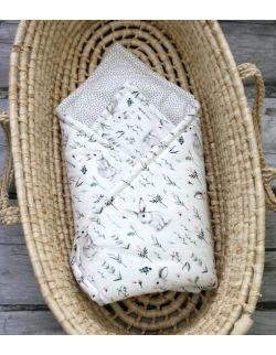 Starter niemowlęcy White Rabbit: kokon + pościel + rożek