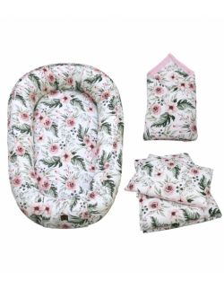 Starter niemowlęcy Blossom : kokon + pościel + rożek