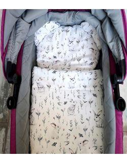 Komplet do wózka- Kocyk + Podusia Miś