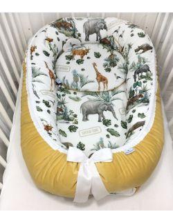 Kokon niemowlęcy premium Safari & velvet musztardowy ze zdejmowanym pokrowcem