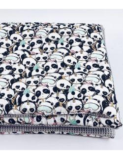 Kocyk wafelkowy Pandy 75x100 cm zestaw z poduszką