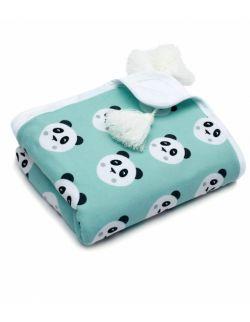 Kocyk bawełniany Pandy miętowe