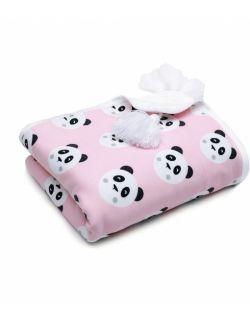 Kocyk bawełniany Pandy różowe