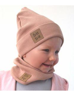Dziecięca czapka z kominem-orzech/beż