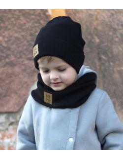 Dziecięca czapka z kominem-czarna