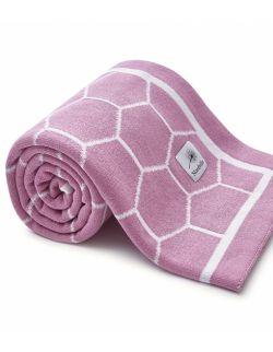 Całoroczny kocyk Plaster miodu różowo-kremowy