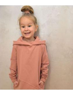 Przedłużona bluza z kapturem, sportowa sukienka dla dziewczynki