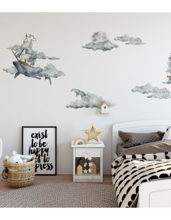 Naklejki na ścianę Wieloryb w chmurach