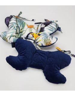 Poduszka Motylek Tukany z velvet granatowy gwiazdki