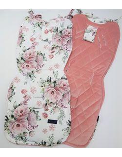 Wkładka do wózka Kwiaty z ultra soft velvet pudrowy róż pikowany caro