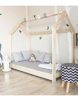 Łóżko domek drewniane Gaya naturalne