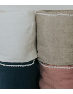 Lniany koszyczek white/beige/pink/blue