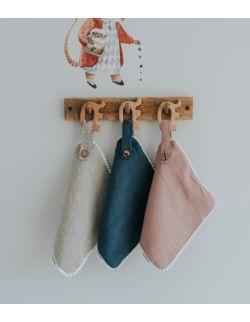 Lniany drewniany gryzak white/beige/pink/blue