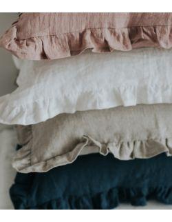 Lniana poszewka z falbanką 50x50 cm white/beige/pink/blue