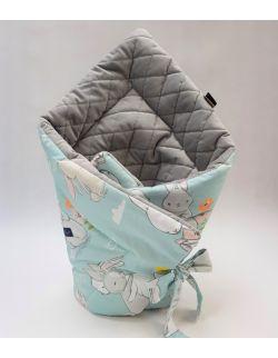 ROŻEK niemowlęcy 75x75 cm Cut Hares z Velvet szare caro