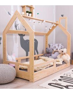 Łóżko domek drewniane Gaya naturalne z barierkami i/lub szufladą