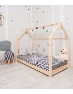 Łóżko domek drewniane Leo Naturalny