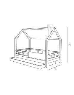 Łóżko domek Leo białe z barierkami i/lub szufladą