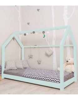 Łóżko domek Leo miętowe z barierkami i/lub szufladą