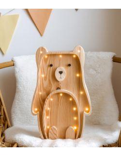 Drewniana lampka Miś- widoczne drewno