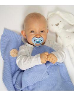 Bawełniany kocyk tkany 100% bawełny błękitny