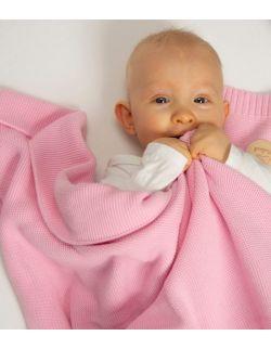 Kocyk bawełniany różowy tkany 100% bawełny