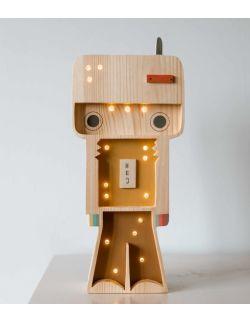 Drewniana lampka Robocik - widoczne drewno