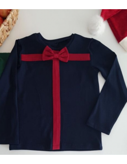 Świąteczna bluzeczka lub body Gift z muszką - granat