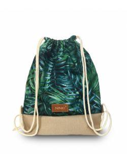 worko - plecak poliester (zielone liście palmowe - beżowy)