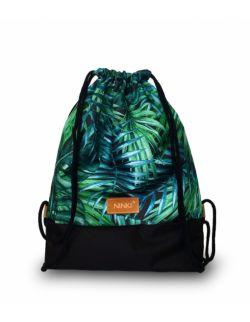 worko - plecak poliester (zielone liście palmowe - czarny)