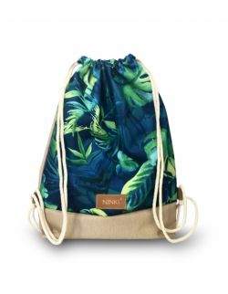 worko - plecak poliester (zielono niebieska monstera - beżowy)