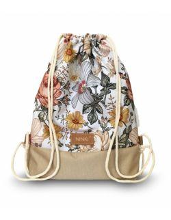 worko - plecak poliester (kwiaty vintage na białym tle -beżowy)