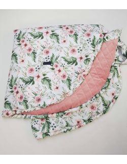 Mata do zabawy srednica 130cm In Garden ultra soft velvet delikatny róż pikowany caro