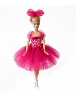 Sukienka dla lalki Barbie z wieszaczkiem i kokardą