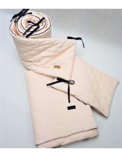 Komplet do łóżeczka Velvet delikatny łososiowy z wypustką , pikowany bączki - kocyk, poduszka, ochraniacz